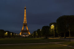 PARIS - summer. Eiffel tower on the background of the night sky. PARIS - summer. The illuminated Eiffel Tower against the background of the night sky Royalty Free Stock Photo