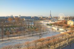 Paris on a Sunday Morning. Bright winter view, including the Eiffel tower stock photography