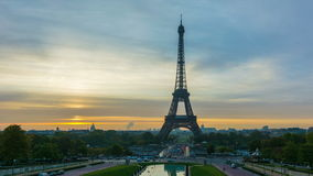 Paris at sunrise. 4K timelapse of Paris at sunrise with the Eiffel Tower at Trocadero stock footage