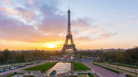 Paris sunrise. 4K timelapse of Paris at sunrise with the Eiffel Tower at the Trocadero gardens stock video