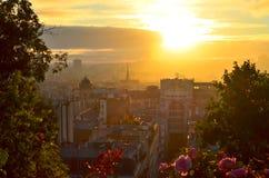 Paris sunrise stock image