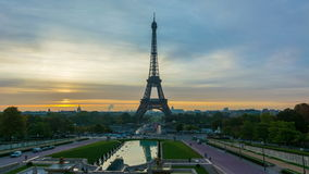 Paris sunrise timelapse. 4K timelapse of Paris at sunrise with the Eiffel Tower at the Trocadero gardens stock video footage