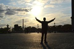 Paris Sunset Royalty Free Stock Photos