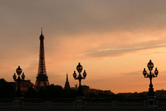 Paris sunset Stock Images