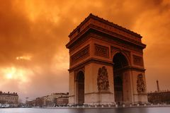 Paris, sunset at the Arc de Triomphe Royalty Free Stock Images