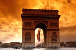 Paris, sunset at the Arc de Triomphe Royalty Free Stock Photo