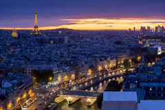 Paris at sunset. A beautiful Aerial view of Paris at Night, France Stock Images