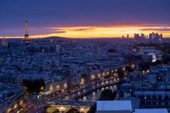 Paris at sunset. A beautiful Aerial view of Paris at Night, France Royalty Free Stock Photos
