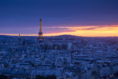 Paris at sunset. A beautiful Aerial view of Paris at Night, France Royalty Free Stock Photo