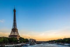 Paris. Sunset on the Eiffel Tower in Paris Stock Image