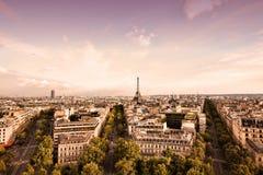 Paris sunset stock photos