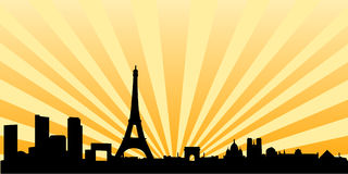 Paris sunset skyline silhouette royalty free illustration
