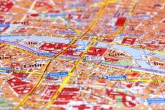 Paris sur la carte Photos libres de droits