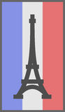 Paris symbol on flag of France background Royalty Free Stock Photography