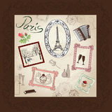 Paris symbol hand drawn picture in frame with design elements  set. Stock Photo