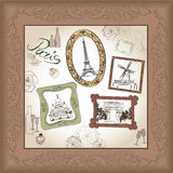 Paris symbol hand drawn picture in frame with design elements  set. Royalty Free Stock Photography