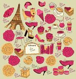 paris symboler stock illustrationer