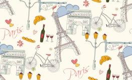 Paris symboler, vykort, sömlös modell, dragen hand Arkivfoton
