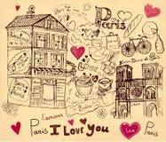 Paris symbols. Hand drawn illustration with Paris symbols Stock Photo