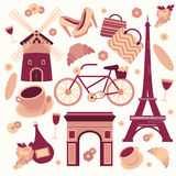 Paris symbols collection Stock Photos