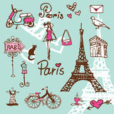 Paris symbols doodle - background Royalty Free Stock Photography