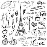 Paris symbols, hand drawn objects Royalty Free Stock Photo