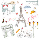 Paris symbols, postcard, hand drawn. Vector illustration Royalty Free Stock Photos