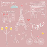 Paris symbols, postcard, hand drawn Stock Photography