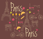 Paris symbols, postcard, hand drawn Stock Photos