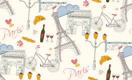Paris symbols, postcard, seamless pattern, hand drawn Stock Photos