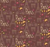 Paris symbols, postcard, seamless pattern, hand drawn Stock Image