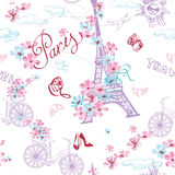 Paris symbols seamless pattern. Romantic travel in Paris. Vector Royalty Free Stock Image