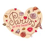 Paris symbols. Vector illustration. Stock Photos