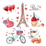 Paris symbols watercolor icons composition Royalty Free Stock Image