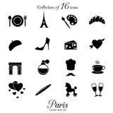 Paris symbolsuppsättning Royaltyfri Foto