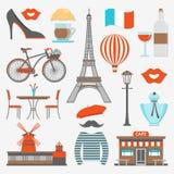 Paris symbolsuppsättning royaltyfri illustrationer
