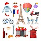 Paris symbolsuppsättning vektor illustrationer