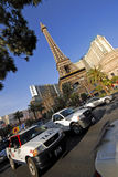 Paris and taxis in Las Vegas. The eiffel tower from Paris and taxis in Las Vegas Stock Photography