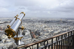 Paris through telescope. From the second Eiffel tower floor Royalty Free Stock Photo