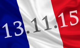 Paris terror attack. In memory of Paris terror attack November 13, 2015 - french flag Stock Photo