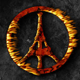 Paris terrorism, peace sign on fire. Paris terrorism, peace on fire. Peace sign with Eiffel tower on fire. Global terrorism threatens world peace. France Stock Photo