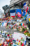 Paris Terrorist Attacks Remembrance. The statue of Marianne, a national symbol of the French Republic standing for liberty and reason, on the Place de la Ré stock images