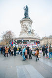 Paris Terrorist Attacks Remembrance. The statue of Marianne, a national symbol of the French Republic standing for liberty and reason, on the Place de la Ré royalty free stock image