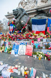 Paris Terrorist Attacks Remembrance. The statue of Marianne, a national symbol of the French Republic standing for liberty and reason, on the Place de la Ré stock photos