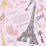 paris Teste padrão sem emenda do vintage com torre Eiffel, chaves antigas, penas e rotulação tirada mão ilustração stock