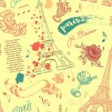 paris Teste padrão sem emenda do vintage com torre Eiffel, flores, penas, cocktail e texto ilustração stock