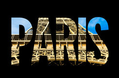 Paris text on black background Royalty Free Stock Images
