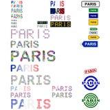 Paris text design set. Paris text sign, board, stamp design set Royalty Free Stock Photos
