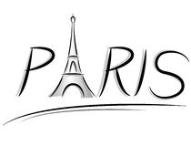 Paris text illustration Royalty Free Stock Photo