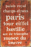 Paris text in woden poster. Stock Images
